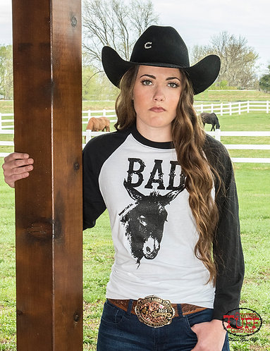 COWGIRL TUFF WHITE AND BLACK BASEBALL TEE WITH BAD*** PRINT