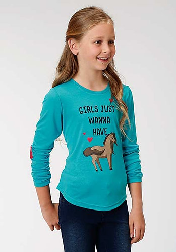 Roper Five Star Girls Turquoise Jersey Knit Long Sleeve Tee