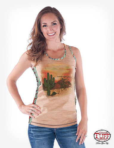 TAN AND CORAL AZTEC RACOWGIRL TUFF RACERBACK TANK WITH DESERT GRAPHIC