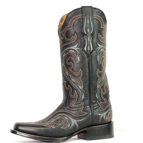 Corral Women's Black/Whiskey Embroidered Square Toe Boot