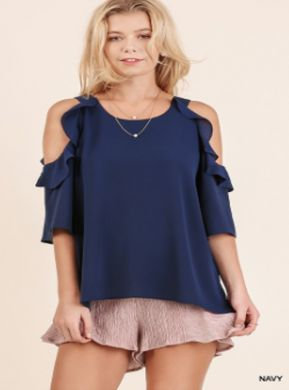 UMGEE Cold Shoulder Blouse with Ruffle Details NAVY R7264