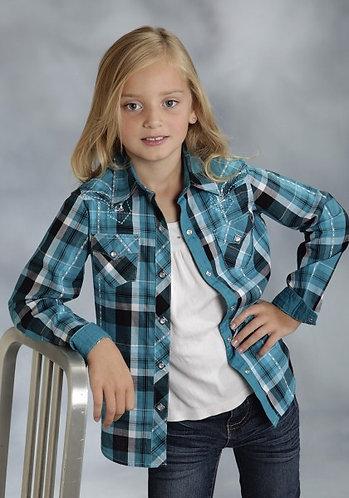 Roper Girls Blue/Teal Plaid Western Shirt