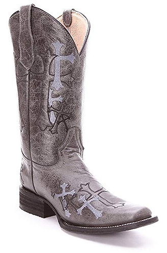 Circle G Women's Side Cross Embroidery Grey Square Toe Western Boots