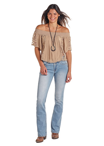 PANHANDLE SLIM LACE TRIM OFF THE SHOULDER TOP