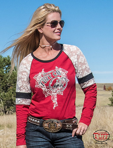 COWGIRL TUFF RED L/ S WITH CREAM LACE DETAIL