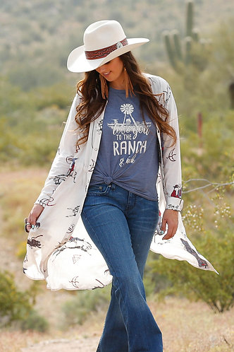 Cinch Ladies l/s Print Duster Creme