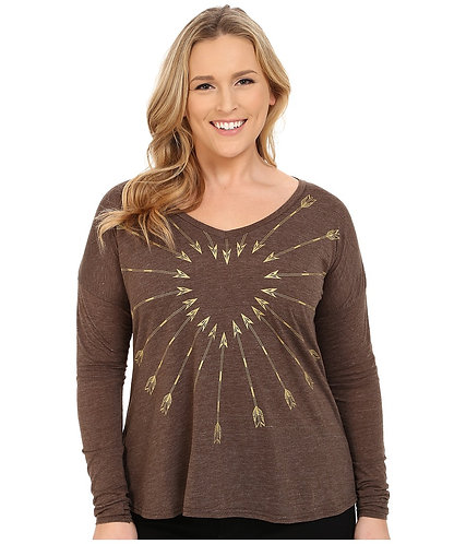 Roper  Light Weight Heather Jersey V-neck Tee (brown) Womens