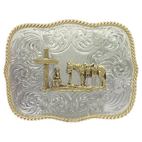 MS German Silver Christian Cowboy Western Belt Buckle