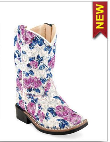 OLD WEST PINK FLORAL INFANT BOOTS