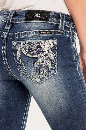 Miss Me Women's Dark Wash Dream Catcher with Feathers Pocket Boot Cut Jeans