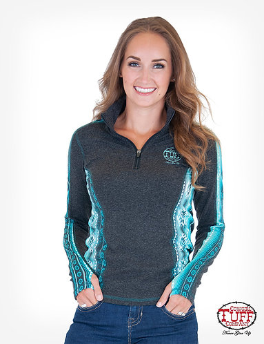 COWGIRL TUFF CHARCOAL AND TURQUOISE AZTEC CADET ZIP