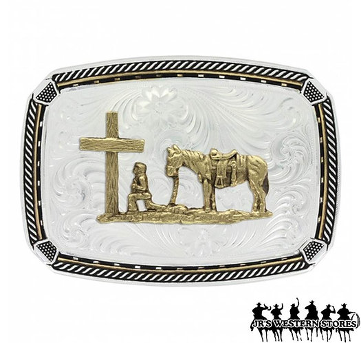 Two Tone Fastened at All Four Corners Buckle with Christian Cowboy