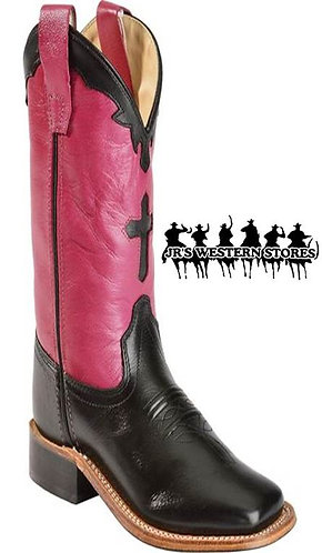 Old West Pink/Black Cross Inlay Kid's Boot