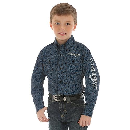 Wrangler Boys' Logo Long Sleeve Shirt