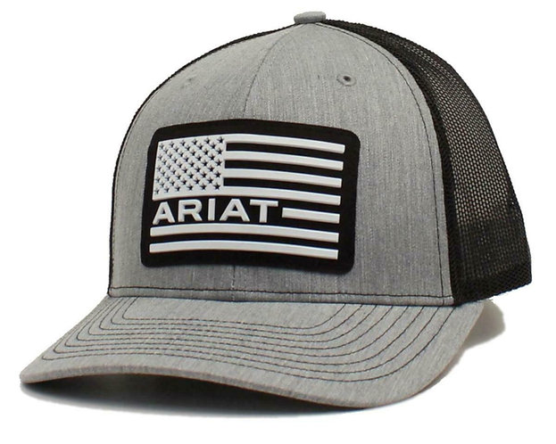Ariat Western Mens Cap Baseball Hat USA Flag Patch Mesh Snap Grey A300012706