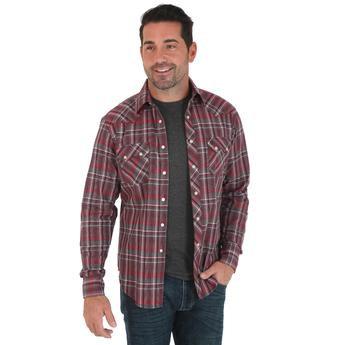 Wrangler Retro® Long Sleeve Shirt - Red/Grey