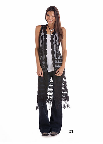 JUNIORS SLEEVELESS LACE DUSTER