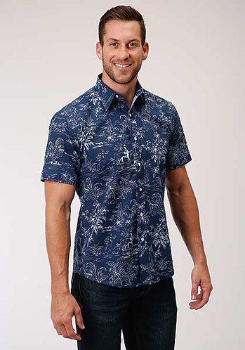 MENS S/S SHIRT   PERFORMANCE Y/D ALLOVER PRINT -SNAP