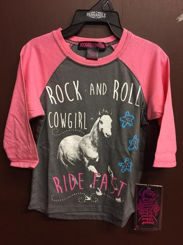 Rock & Roll Cowgirl Grey/Pink Ride Fast Tee