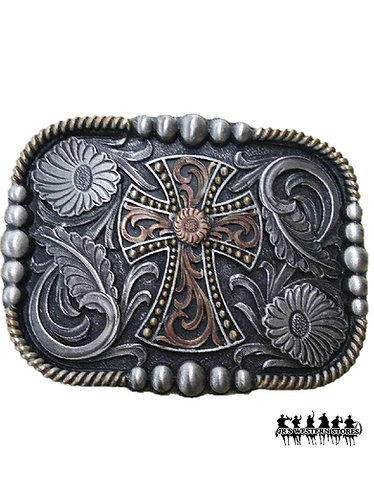 Two-Tone Square Floral Cross Belt Buckle