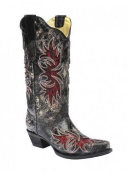Corral Ladies Distressed Black w/Red Inlay Boots