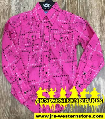 Cowgirl Hardware Pink Barbwire/Horse Western Shirt