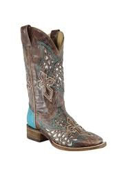 Corral Women's Brown Inlay Wings Cross Boots