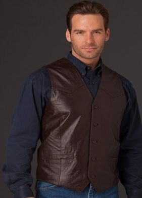 Cripple Creek Mens Basic Vest with Button Front Chocolate ML3059