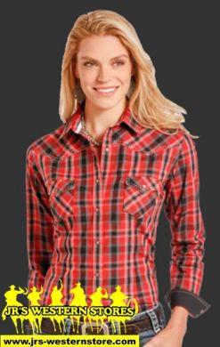 Panhandle slim/Rough Stock Ladies Red/Black Plaid Shirt R459264