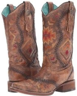 Corral Women's Cognac Whip Stitch Square Toe Boot