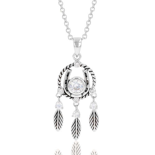 Montana Silversmiths Horseshoe Feather Dreams Necklace