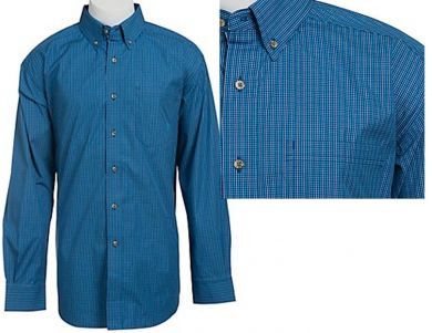 Ariat Men's Baliman Sea Blue Plaid Shirt #10013023