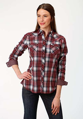 ROPER WOMENS L/S SHIRT PERFORMANCE Y/D PLAID SNAP