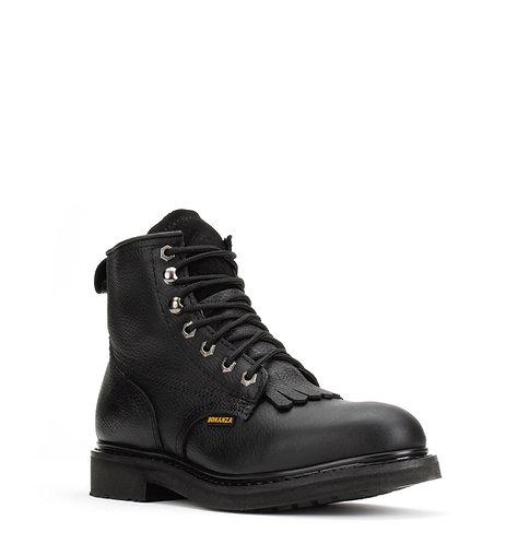 "6"" Slip-Resistant Round Toe Boot Black – Bonanza Boots"