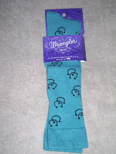 Wrangler Socks - Ladies Rayon Horseshoe Boot - #9430 - Teal - Medium - 9 to 11
