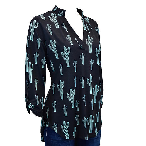 Cowgirl Hardware All over Cactus Vneck 3/4 Sleeve