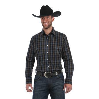 Wrangler® Wrinkle Resist Long Sleeve Shirt - Black/Blue