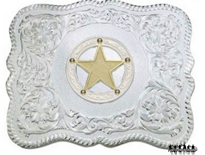 Scalloped Silver Western Belt Buckle with Round Star Concho