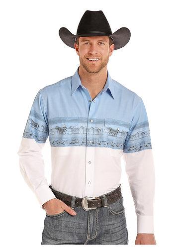 PANHANDLE SLIM MENS LS SNAP  PH BORDER  Shirts