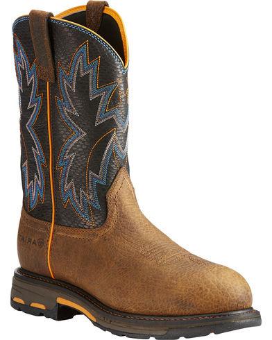 Ariat Men's Brown WorkHog Raptor Snake Print Boots - Round Toe 10023058