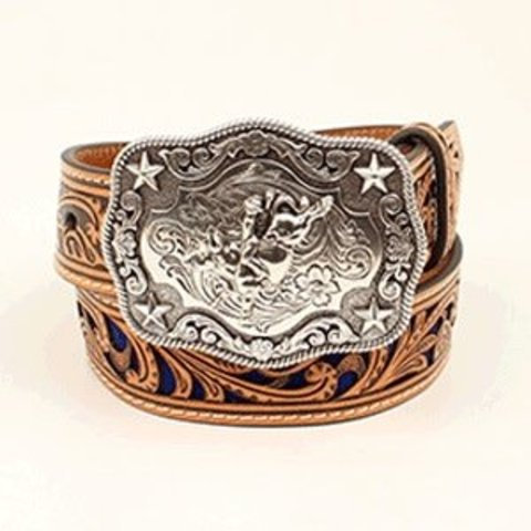NOCONA BOYS Tan and Blue Belt with Silver Rectangle Bull Rider Buckle.