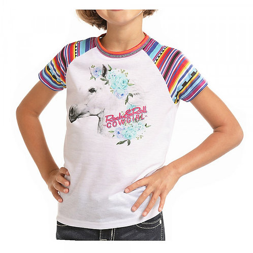 Rock & Roll Cowgirl Horse Graphic Serape Sleeve T-Shirt