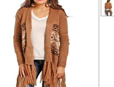 PANHANDLE SLIM/POWDER RIVER OUTFITTERS FRINGED AZTEC SWEATER 52-3909