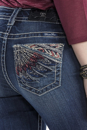 Miss Me Foxy Feather Mid Rise Boot Cut Denim