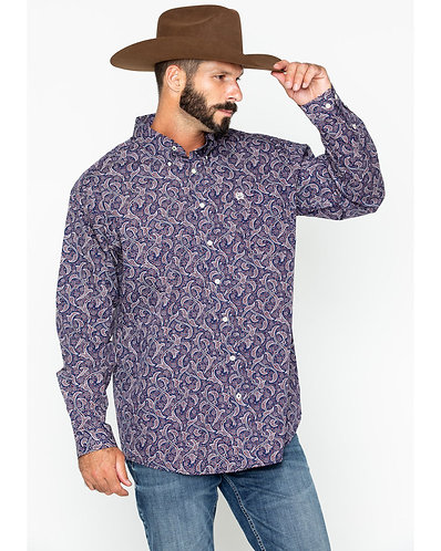 Cinch Navy and Burgundy Paisley Button Down Shirt