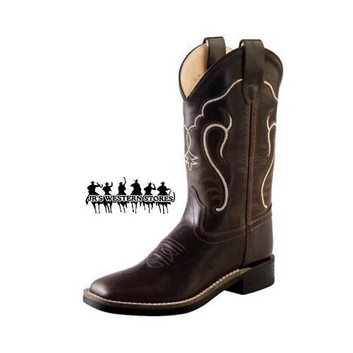Old West Chocolate Swirl Square Toe Kid's Boot