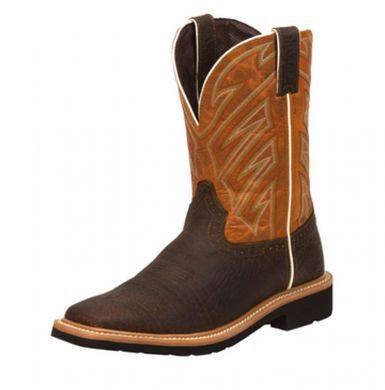 Justin Men's Stampede Dark Chestnut Work Boots Wk4560