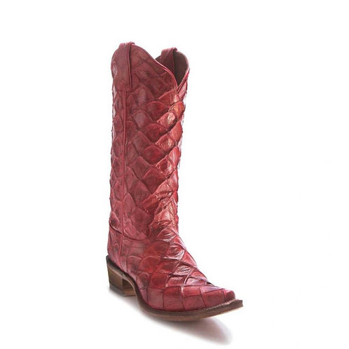 Nocona Women's Cowgirl Posh Bessie Red Exotic Fish Scale Print Fashion Boots –NL