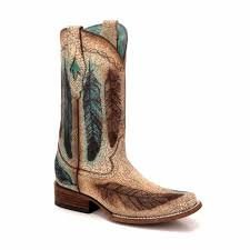 Corral Ladies Sand Engraved Feathers Square Toe Boots