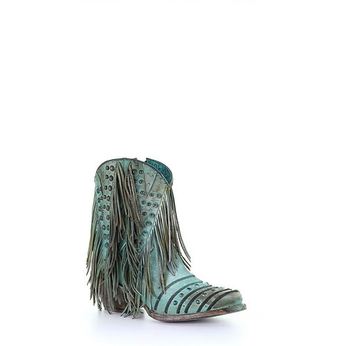 Corral Ladies Turquoise Fringe & Studs Shortie Boots Z0074